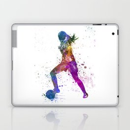 Girl playing soccer football player silhouette Laptop & iPad Skin