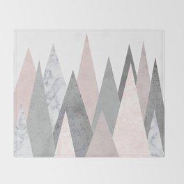 BLUSH MARBLE GRAY GEOMETRIC MOUNTAINS Throw Blanket