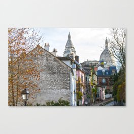 French street in Montmartre, Paris Canvas Print