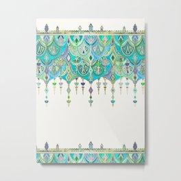 Art Deco Double Drop in Jade and Aquamarine on Cream Metal Print