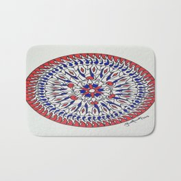 Mandala in Red White and Blue Bath Mat