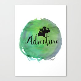 Adventure Mountain Watercolor and Typography Canvas Print