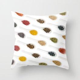 Spice Spoons on white Throw Pillow