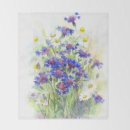 Meadow watercolor flowers with cornflowers Throw Blanket