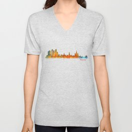 Moscow City Skyline art HQ v2 Unisex V-Neck