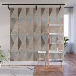 Copper Foil and Blush Rose Gold Marble Triangles Argyle Wall Mural