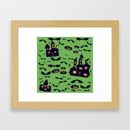 Green Haunted Houses Framed Art Print