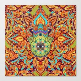 Colorful  Hamsa Hand -  Hand of Fatima Canvas Print