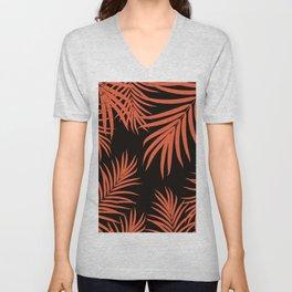 Palm Leaves Pattern Orange Vibes #1 #tropical #decor #art #society6 Unisex V-Neck