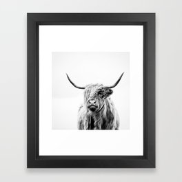 portrait of a highland cow Framed Art Print