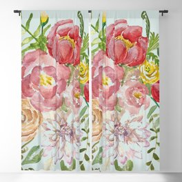 Bouquet of Spring Flowers Light Aqua Blackout Curtain