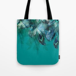 DREAMY FEATHERS & LEAVES - Deep Cyan Tote Bag