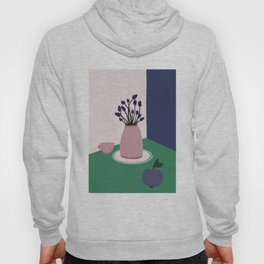 Still Life with Apple, Lavender Flowers and Cup Hoody