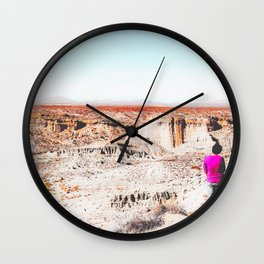 Desert with blue sky in summer in California, USA Wall Clock