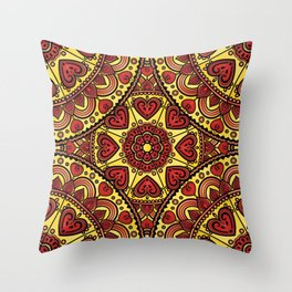 Mandala _ HEARTS Throw Pillow