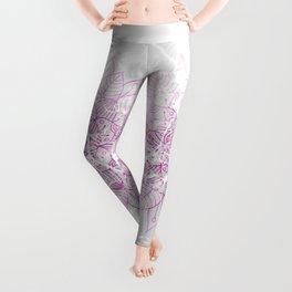 Modern abstract pink watercolor mandala marble pattern Leggings