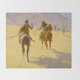 "Frederic Remington Western Art ""The Parley"" Throw Blanket"