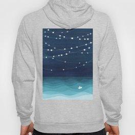 Garlands of stars, watercolor teal ocean Hoody