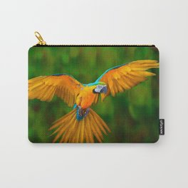 Flying Golden Blue Macaw Parrot Green  Art Carry-All Pouch