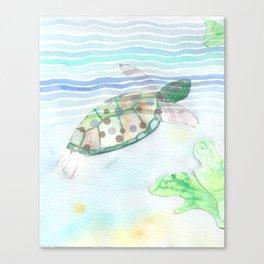 Sea Turtle Underwater Art  Canvas Print