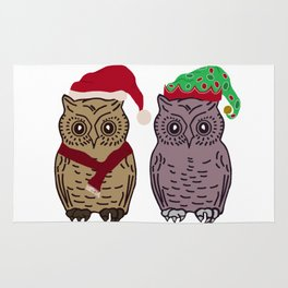 Santa Owl and Elf Owl Rug