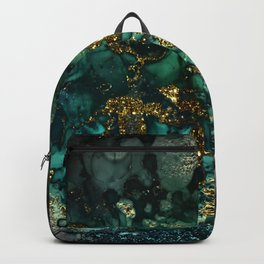 Gold Indigo Malachite Marble Backpack