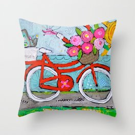 Chase Your Dreams Bicycle Art Throw Pillow
