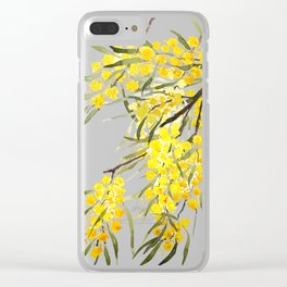 Godlen wattle flower watercolor Clear iPhone Case