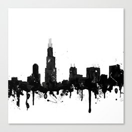 Watercolor Chicago Skyline Canvas Print