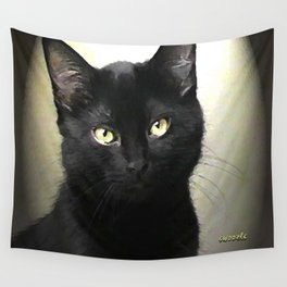 Swoozle's Black Cat in Repose Wall Tapestry