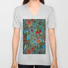 Vintage & Shabby Chic - Tropical Birds and Orchid  Aloha Jungle Unisex V-Neck