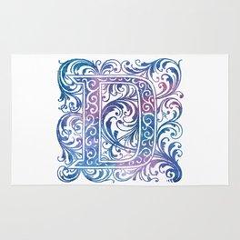 Letter D Antique Floral Letterpress Monogram Rug
