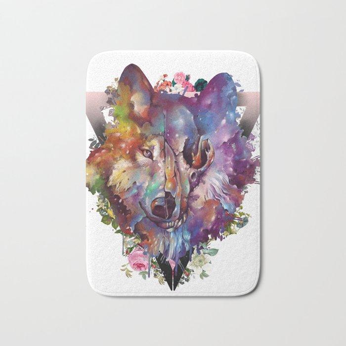 floral wolf skull Bath Mat