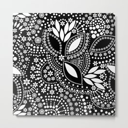 Placer of white beads on a black background . Metal Print