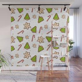 Ginger cookies Christmas pattern Wall Mural