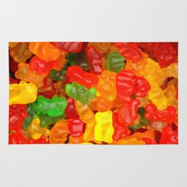 red orange yellow colorful gummy bear Rug