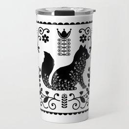 Woodland Folk Black And White Fox Tile Travel Mug