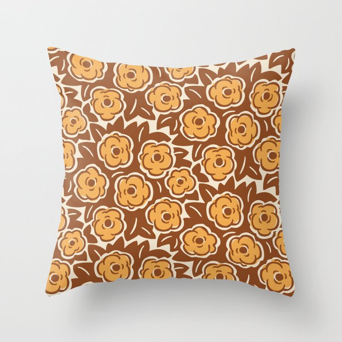Flower Bouquet Pattern Brown and Yellow Ochre Throw Pillow