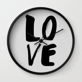 Monochrome LOVE black-white hand lettered ink typography poster design home decor wall art Wall Clock