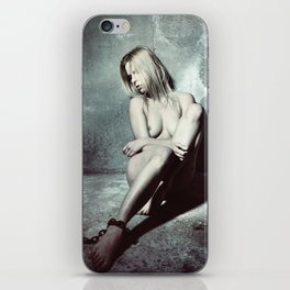Nude and Beautiful woman bound with an old iron chain iPhone Skin