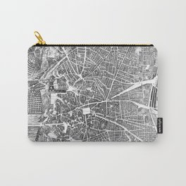 Vintage Map of Madrid Spain (1656) BW Carry-All Pouch