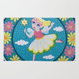 Daisy Flower Fairy Mandala Rug