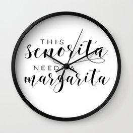 BAR SIGN, This Senorita Needs A Margarita,Funny Bar Decor,Drink Sign,Alcohol Quote,COCKTAIL Print Wall Clock