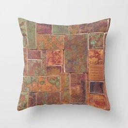 Red Patina Patchwork Throw Pillow