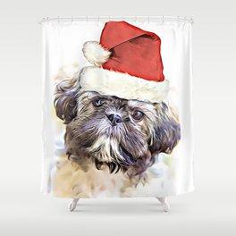 Christmas Shih Tzu puppy Shower Curtain