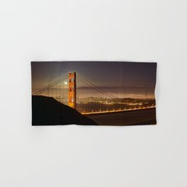 GOLDEN GATE BRIDGE & MOON PHOTO - SAN FRANCISCO NIGHT IMAGE - CALIFORNIA PICTURE - CITY PHOTOGRAPHY Hand & Bath Towel