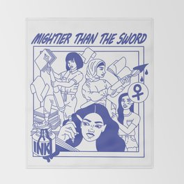 MIGHTIER THAN THE SWORD Throw Blanket