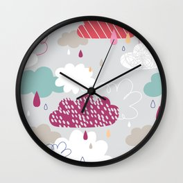 Rain and clouds Wall Clock