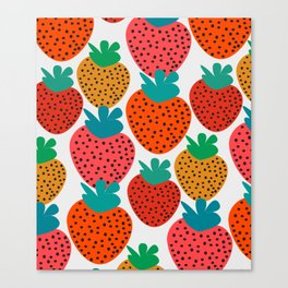 Funny strawberries Canvas Print