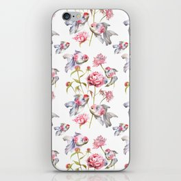 Blush Pink Peony Flowers with Fish Design iPhone Skin